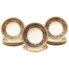 12 Tiffany Cobalt Blue and Heavy Gilt Encrusted Rimmed Soup Bowls, Antique