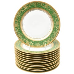 12 Antique French Rich Green and Heavily Gilded Dinner Plates, Oversized