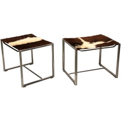 Pair of French Mid-Century Modern 'Bauhaus' Nickel Steel Benches or Stools
