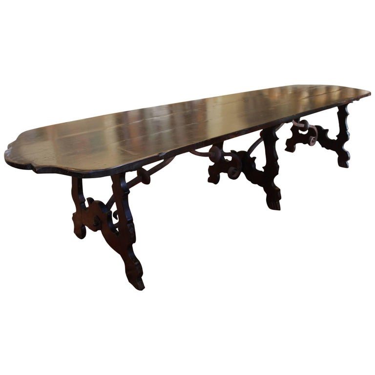 19th Century Italian Monastery Walnut and Iron Trestle Table 1