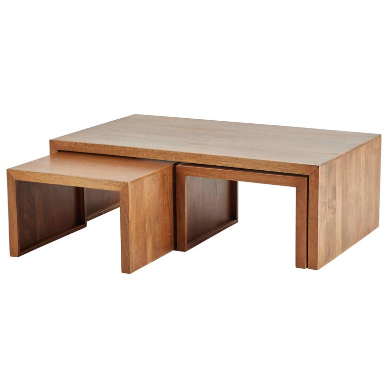 Coffee Table With Nesting Side Tables Or Stools For Sale At 1stdibs