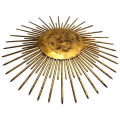 French Mid-Century Modern Neoclassical Gilt Iron Sunburst Flush Mount or Pendant