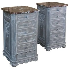 Pair of 19th Century French Regence Marble-Top Painted Nightstands