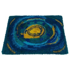 1970s Abstract Modern Scandinavian Rya Rug