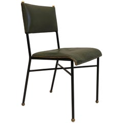French Mid-Century Modern Hand-Stitched Leather Desk/Side Chair, Jacques Adnet