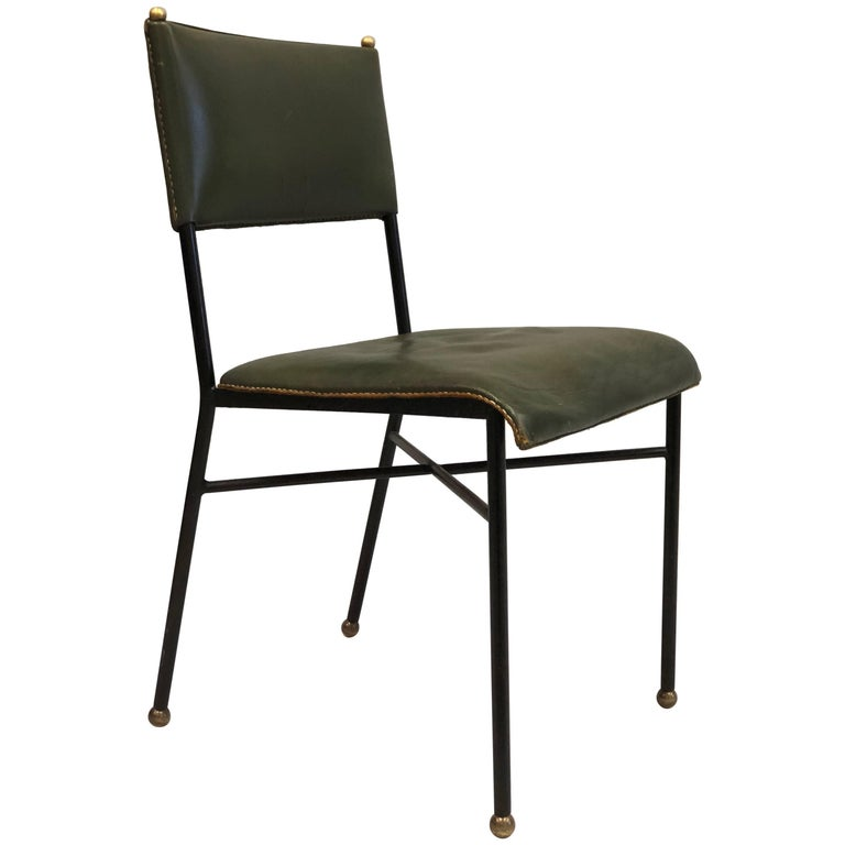 French Mid-Century Modern Hand-Stitched Leather Desk/Side Chair, Jacques Adnet For Sale