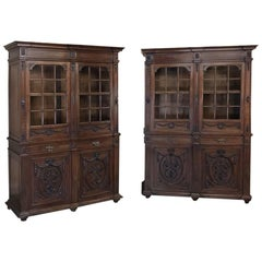 Pair of 19th Century Louis XVI French Walnut Bookcases