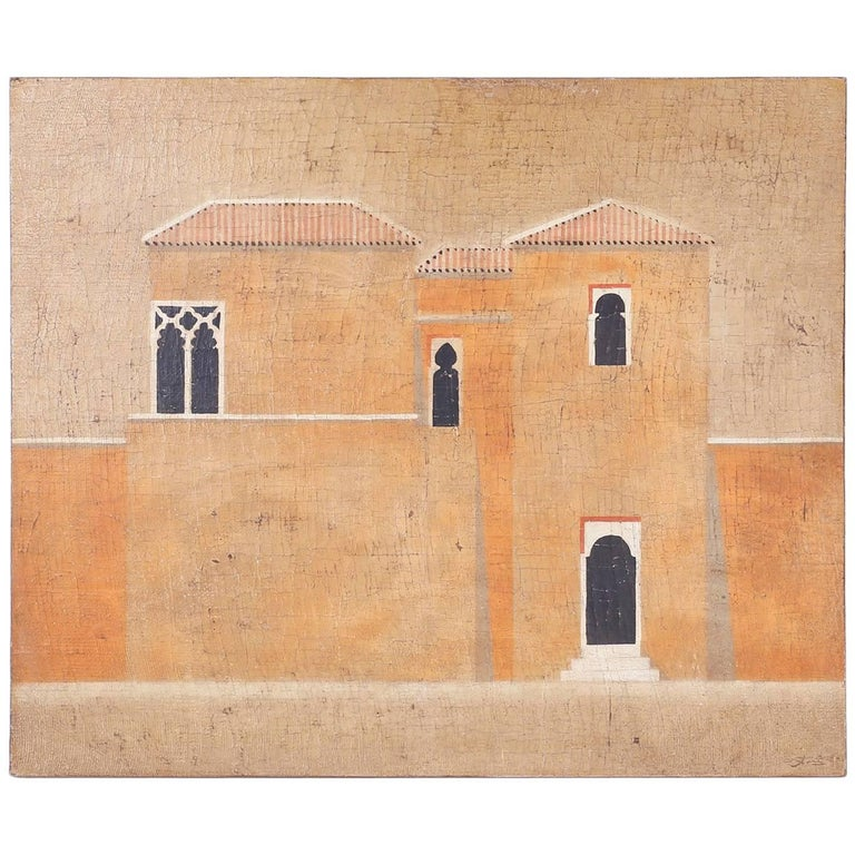 Architectural Oil Painting on Burlap For Sale
