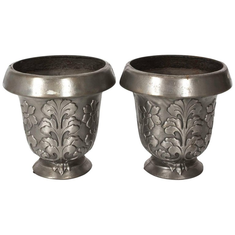 Italian Pewter Cache Pots