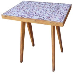 French Tile Top Pink Side Table, Midcentury