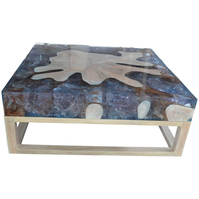 Andrianna Shamaris St. Barts Teak Wood and Cracked Resin Coffee Table For Sale