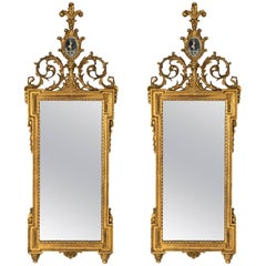Pair of Neoclassical Gilded Mirrors