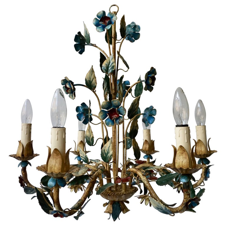 Italian Metal Flower Chandelier For Sale