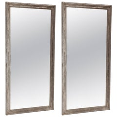 Pair of Silvered Tall Rectangular Mirrors