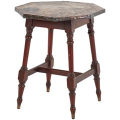 Late 19th Century Copper Top Side Table with Wooden Legs from England
