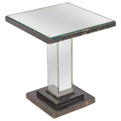 1930s English Art Deco Mirrored Square Side Table