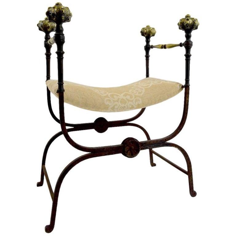 Pair of Italian Savonarola Curule Bench Seat Chairs