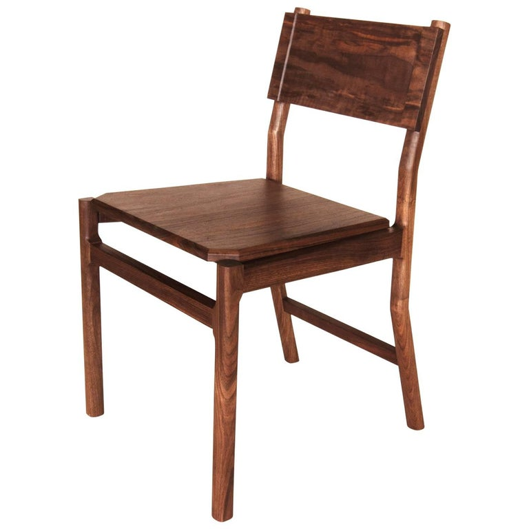 Black Walnut Hewitt Wood Dining Chair by New York Heartwoods For Sale