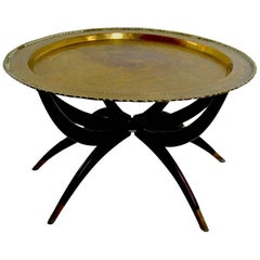 Moroccan Brass Tray Top Spider Leg Table