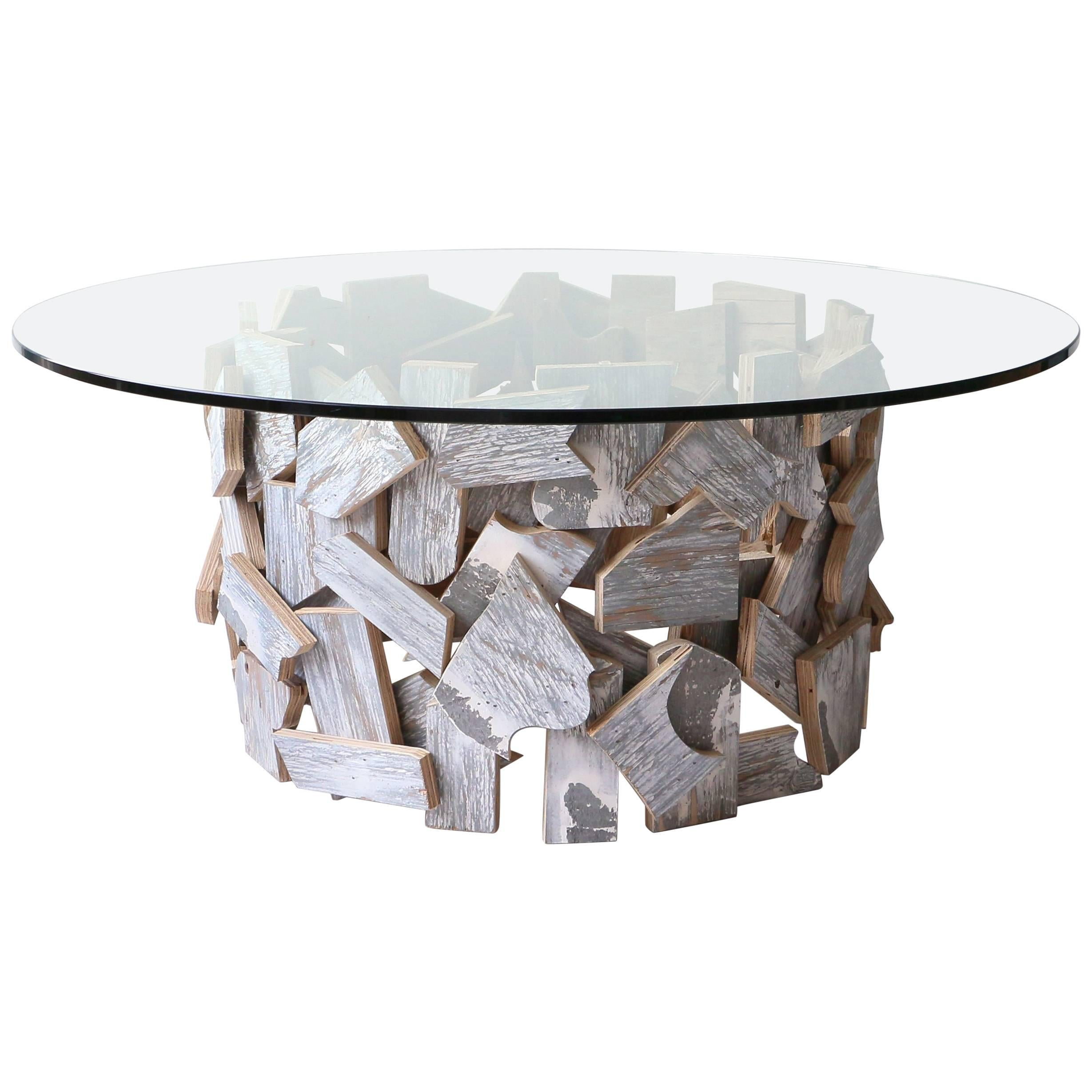 Contemporary Organic Reclaimed Wood Round Coffee Table With Clear Glass Top  For Sale