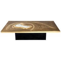 Willy Daro Etched Brass Coffee Table, circa 1980