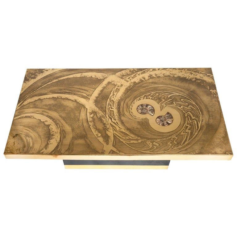 Coffee Table Etched Brass Inlay Ammonite by Georges Mathias