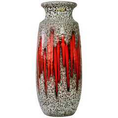 Tall Mid-Century West German Pottery Red Striped Vase Lava Glaze by Scheurich