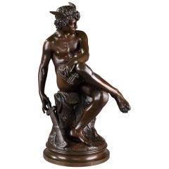 """19th Century Pierre Marius Montagne Bronze Statue """"Mercury"""""""