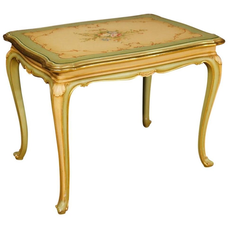 Italian Green Coffee Table in Lacquered, Painted, Giltwood from 20th Century