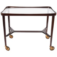 Italian Bar Cart Mahogany Ico Parisi for A. De Gaggis , Italy 1950s