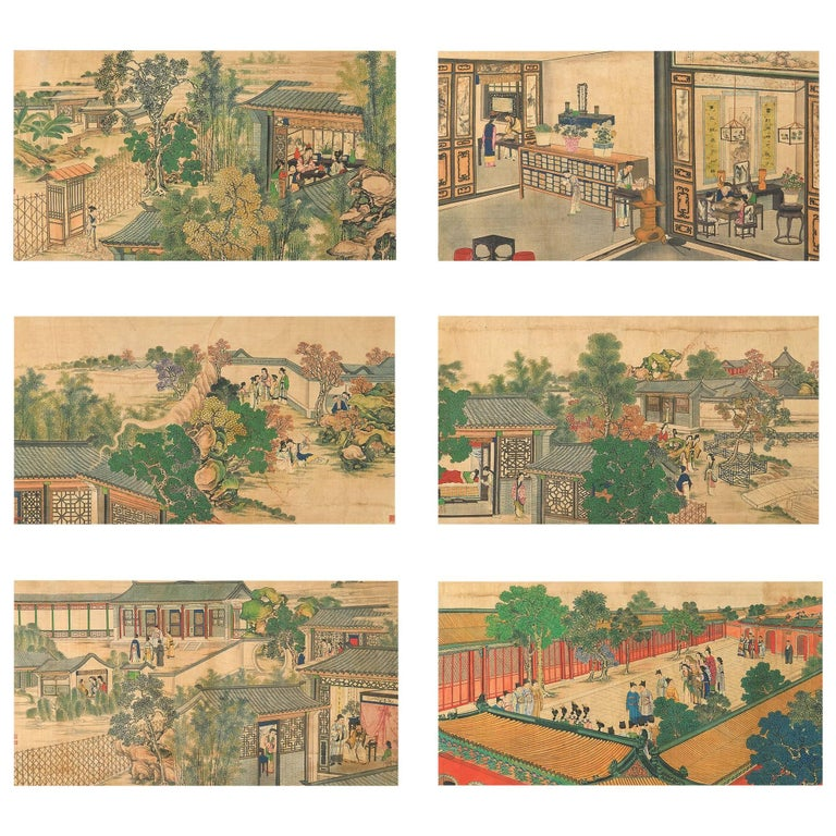 19th Century 24 Ink and Watercolor Landscapes Depicting Scenes of Court Life