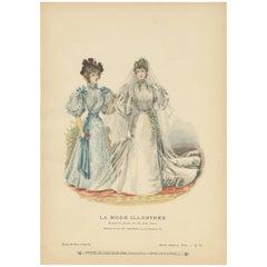 Antique Fashion Print Published by La Mode Illustrée 'No. 17 – 1895'