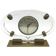 Mid-Century Modern Italian Plexiglass and brass Table Clock by Italora 1950