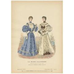 Antique Fashion Print Published by La Mode Illustrée 'No. 15 - 1895'