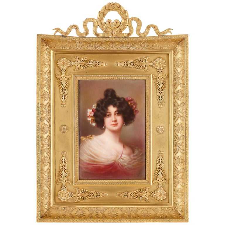 19th Century Painted Porcelain Plaque, with Portrait of a Lady