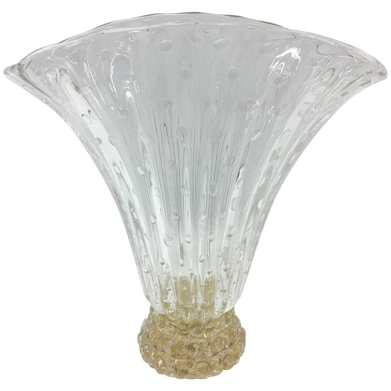 Barovier & Toso Mid-Century Modern Translucent and gold Murano Glass Vase 1970 For Sale