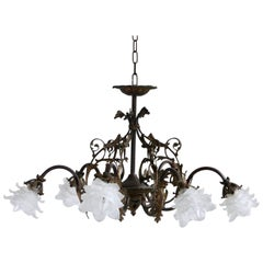 1920s Decorative Brass Downlighter Chandelier with Frosted Floral Shades