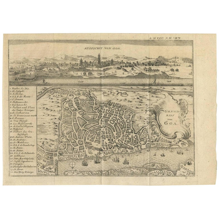 Antique Map of Goa 'India' by J.N. Bellin, 1760 For Sale