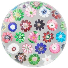 Clichy Spaced Millefiori Paperweight on Clear