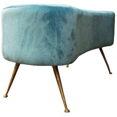 Gio Ponti, One of a Kind Stool in Blue Velvet Color, Italy, 1950