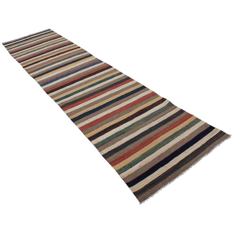 Vintage Genuine Handwoven Maimana Afghan Kilim Multicolored Wool Runner Rug