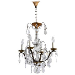 Early 20th Century Louis XIV Style Chandelier with Original Crystal