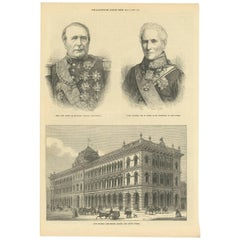 Antique Print with Two Portraits and a View of the General Post-Office 'Sydney'