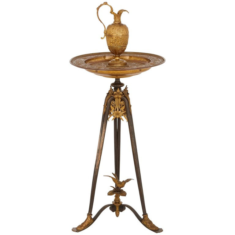 Gilt and Patinated Bronze Ewer on Stand, Attributed to Barbedienne For Sale