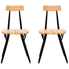 """Set of Two Ilmari Tapiovaara """"Pirkka"""" Side Chairs, Laukaan Puu, Finland, 1950s"""