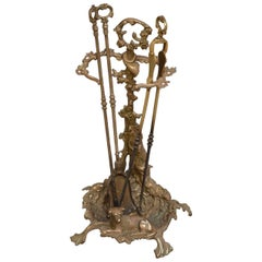 Brass Fire Companion Stand with Fire Irons or Umbrella Stand