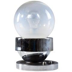 French Vintage Chrome Globe Double Light Lamp, 1960-1970