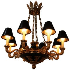 French Eight-Arm Empire Style Bronze Chandelier-2