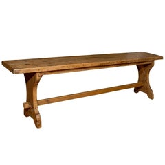 French Long Pine Bench with X-Form Legs and Stretcher from Early 20th Century