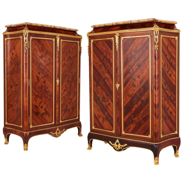 Pair of Gilt Bronze-Mounted Marquetry Cabinets by Durand
